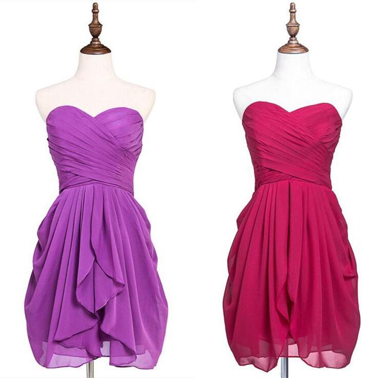Knee Length Short Cocktail Dresses Beach Country Western Bridesmaid Dress Homecoming Party Gowns Sweetheart Chiffon Custom Color