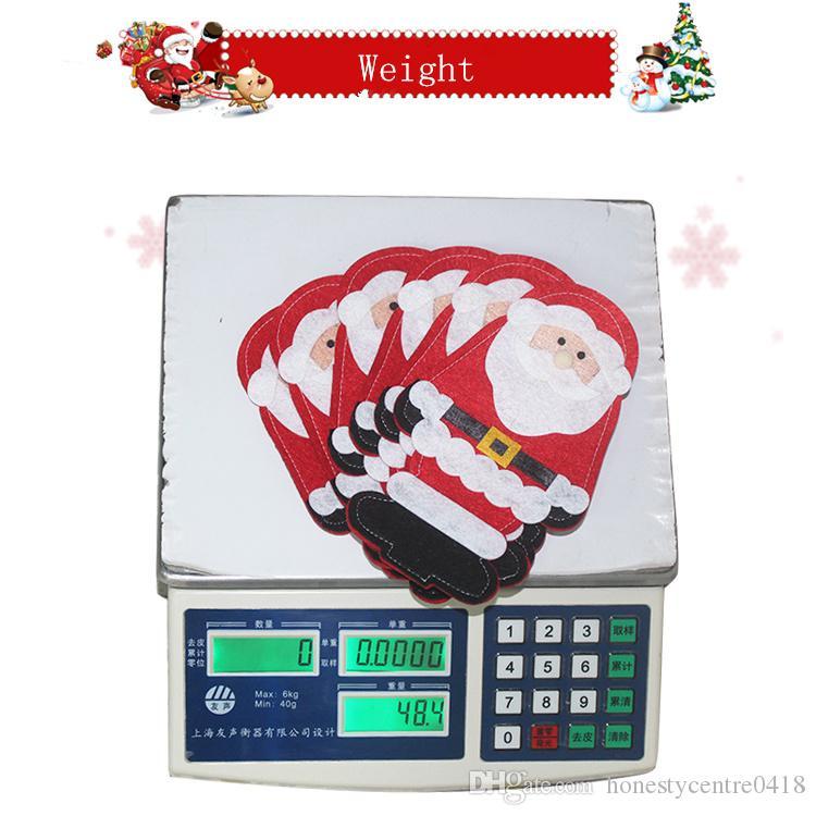 100 pçs / lote NOVO Papai Noel Facas e Garfos Titular Saco de decoração de natal sacos de mesa de Natal terno