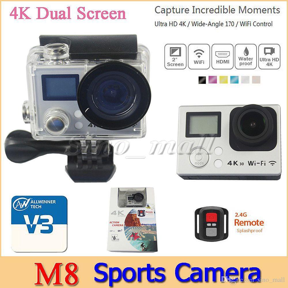 Eken M8 Dual Screen Hd 4k Mini Sports Camera Wifi Hdmi Waterproof Cam Action Sport 1080p H264 Full No 30m 170 Degree Lens Dv Free Dhl Camcorder Camere Video Auto