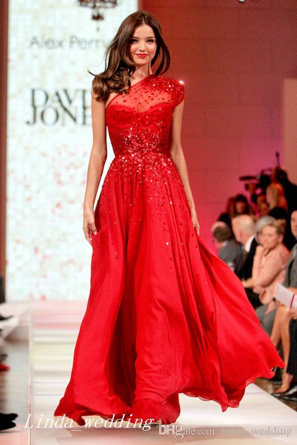 Moda Miranda Kerr Runway Red Chiffon vestido de noite de um ombro longo Prom Dres vestido de festa formal vestido de festa