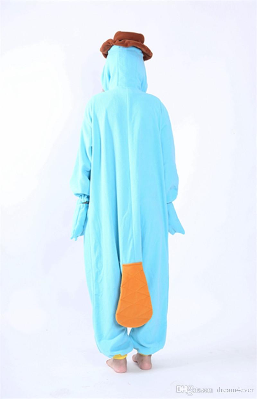 SS Cosplay Anime Blue Platypus Easter Onesie Halloween Costumes Adult Women Men Pajamas Christmas Jumpsuit Romper Fleece