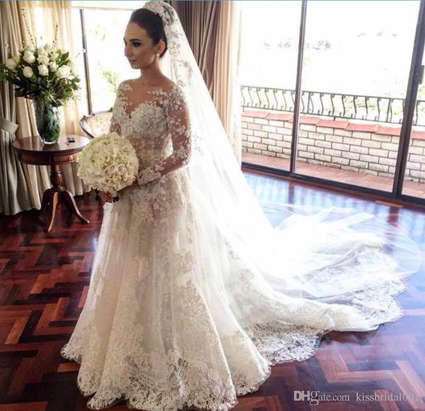 Appliques 3D-floral robes de mariée manches longues dentelle pleine dentelle sur jupes vintage arabe robe de mariée de Dubaï robes de mariée avec perle de luxe