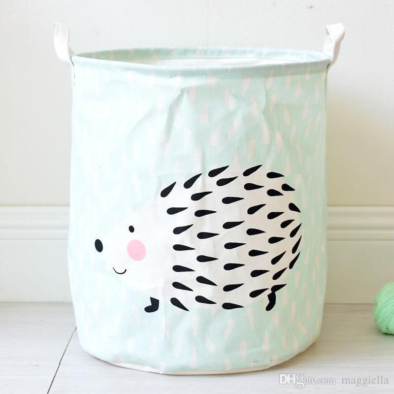 Portable Laundry Basket Cotton&Linen Storage Barrel Folding Dirty Cloth Storage Baskets Kids Toys Sundries Organizer 35x45cm