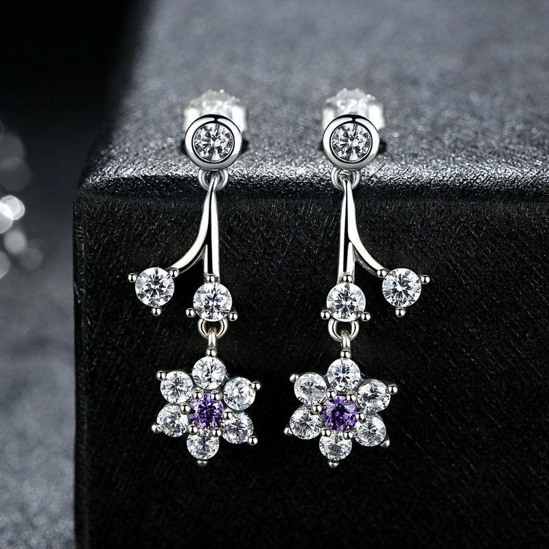c412874c9 2019 Genuine 925 Sterling Silver Earrings Forget Me Not Flowers Drop  Earrings In Purple & Clear CZ Elegant Women Engagement Wedding Jewelry  ER051 From ...