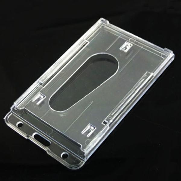 Buona qualità Chiaro 10X6cm Holder trasparente verticale Disco Doppio Biglietto da visita ID Badge plastica