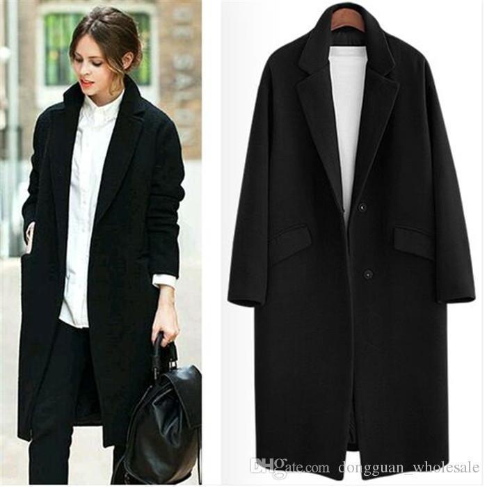 aa0a2cda036 2019 UK Nice Fall / Winter Women Notched Lapel Single Button Simple Long  Coat ZA Style Career Overcoat Manteau Femme Casaco Feminino From  Tallahassed8, ...