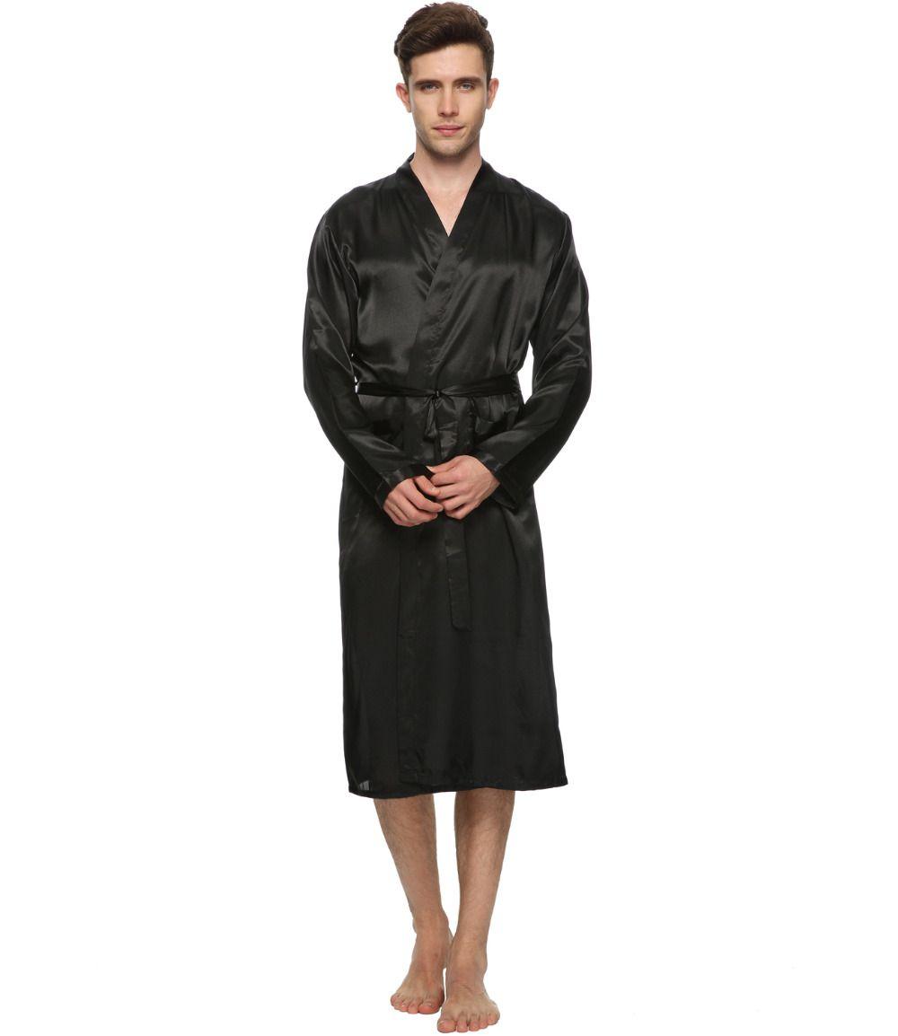 Wholesale-Men Satin Pajama Robe Longwear Bathrobe Lightweight ...