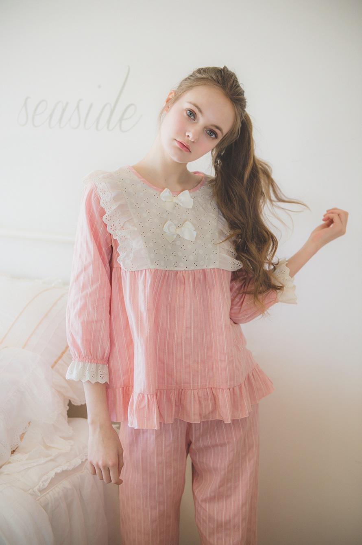 2018 Cute Girls Pajamas Korean Girls Lace Summer New Women