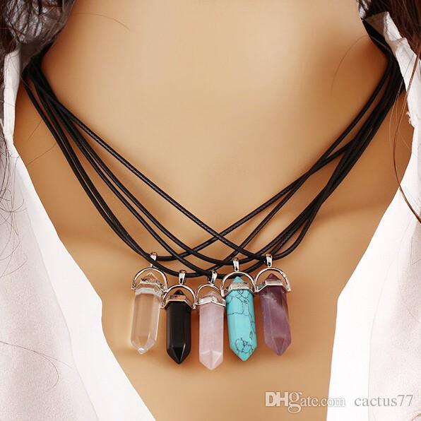 Retail Package Mix Fashion Genuine Leather Chain Mens Womens Gemstone Natural Stone Point Hexagonal Prism Pendant Necklace