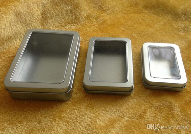 10 Stck. Rechteckige Metallbox mit Vollfenster-Metallverpackung Transparente Geschenkbox 90x60x18MM 3,54x2,36x0,71 Zoll Rechteck Zinn