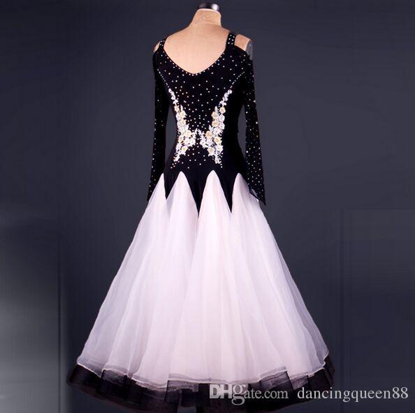 Yüksek Kalite Custom Made Rhinestone Balo Giyim Lady Elbise Balo Standart Dans Kadınlar Viyana Valsi Elbise Giyim Elbise
