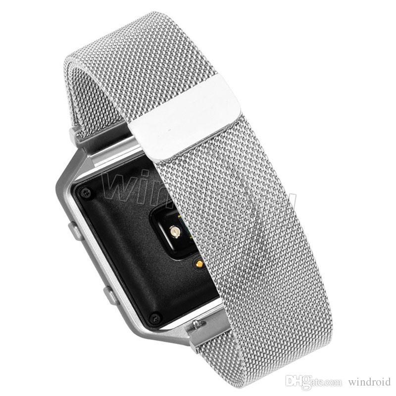 Buntes magnetisches Milanese Schleifen-Metallband für Fitbit-Flammen-Verfolger-Band Smart-Uhrenarmband Armband-Bügelgold Silber Roségold Rosa