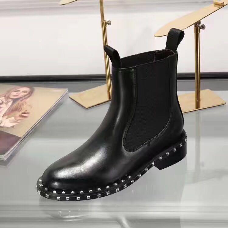 распродажа! свободный корабль! u753 40 черный натуральная кожа стрейч лодыжки плоские короткие сапоги роскошный дизайнер моды Мода celeb выбор