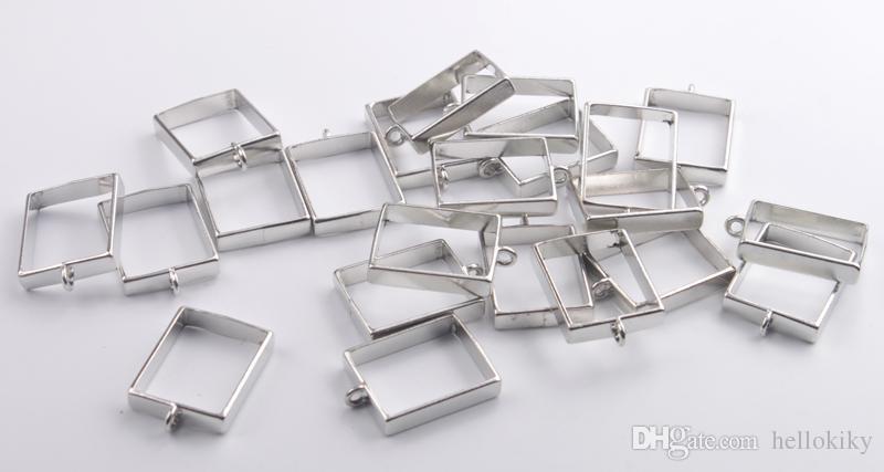 Chegam novas Moda Tom de Prata Mista Lotes Quadro Cabochão Configurações Pingentes vários projetos para venda