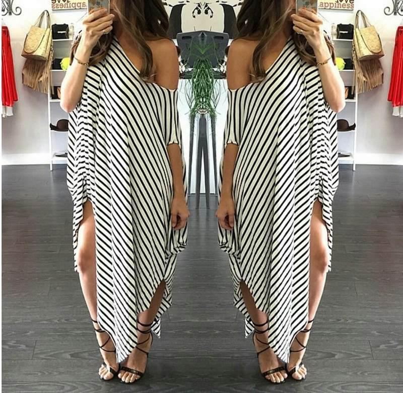 Top 2016 Hot Sale Irregular Off the Shoulder Women Casual Dresses Fashion White and Black Striped Long Women Dress Elegant Party Dress