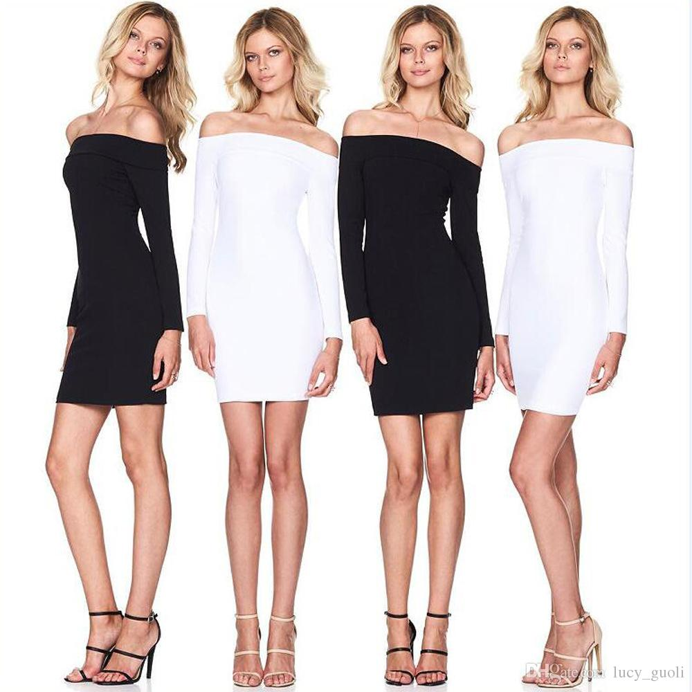 2016 New Autumn Women Dress Zipper Off Shoulder Long Sleeve Dresses Sexy Club Evening Party Bodycon Mini Dresses Sexy Black White vestidos