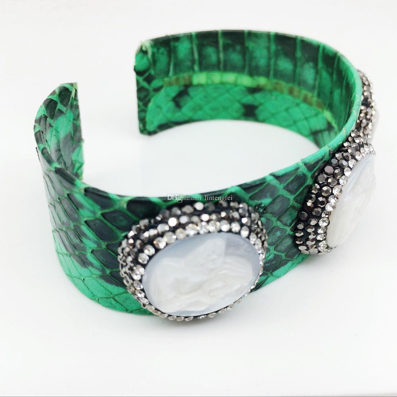 Jewelry Finding Charm Snake Leather Bangle Paved Rhinestone shell The angel Mixed Color Snakeskin Cuff Bangles Bracelets