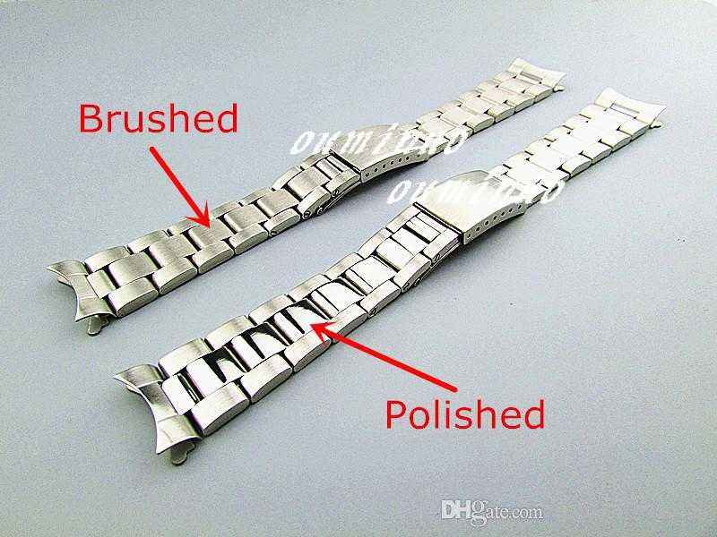 Rolex Watch Kullanılan 17mm Veya 20mm YENİ Saf Katı 316L Kavisli uç Paslanmaz çelik Gümüş fırçalanmış Biten İzle Gruplar Bilezikler