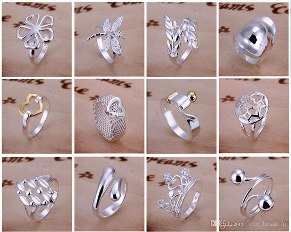 Chegam novas 925 jóias de prata 50 estilo 50 pçslote charme mulheres meninas finge anéis Multi Estilos Anéis Mix tamanho ordem da mistura Venda Quente