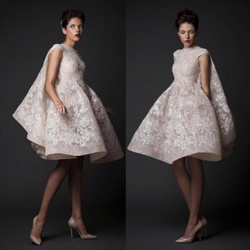 Sleeveless Knee-length Prom Dresses Krikor Jabotian Fashion High Neck Sequin Lace Applique Short Organza Bridal Gowns Custom Made Evening