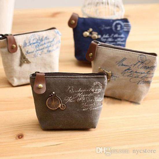 2016 new Women's canvas bag Mini Coin keychain keys wallet Purse change pocket holder organize cosmetic makeup Sorter