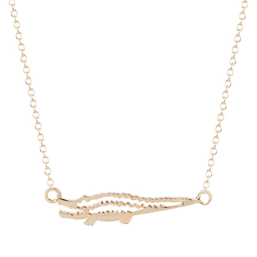 10 шт./лот прохладный Крокодил Аллигатор Shaped Шарм ожерелье из серебра и золота для женщин крошечные животных ювелирные изделия колья Бесплатная доставка