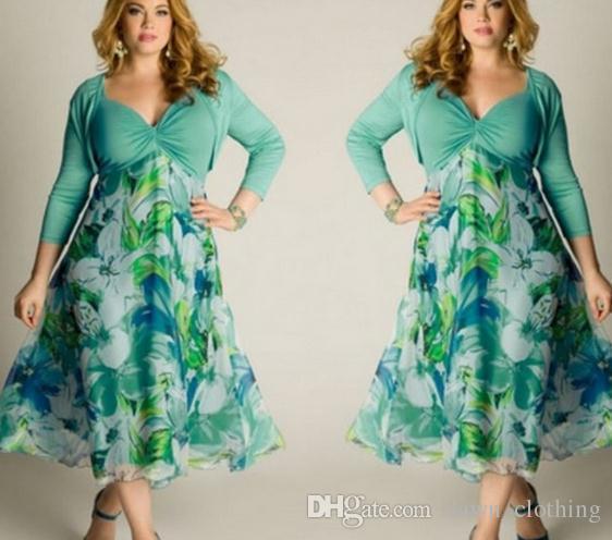 0858b5d3ce Women Leisure Green Floral Printed Dress High Waist Ladies Summer Beach  Long Sundress Plus Size 3 4 Sleeves Dress L 3XL UK Long Dresses Women Summer  Dress ...