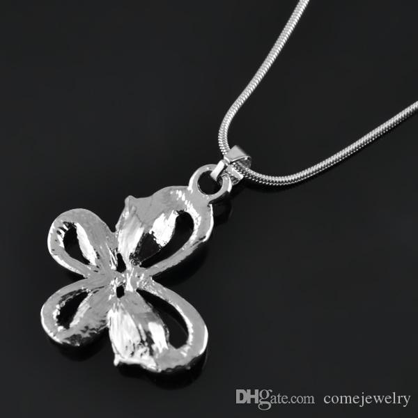 Top Quality Rhodium Plated Fashion Snake Chain Necklaces Carve Cute Butterfly With White Crystal Fantastic Gifts For Friends