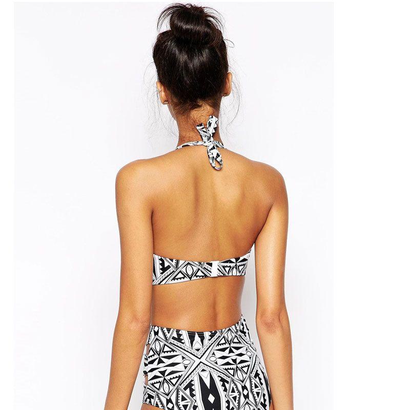 Retail 2016 summer women Printing swimwear steel bracket together fission ms high-waisted bikini bathing suit