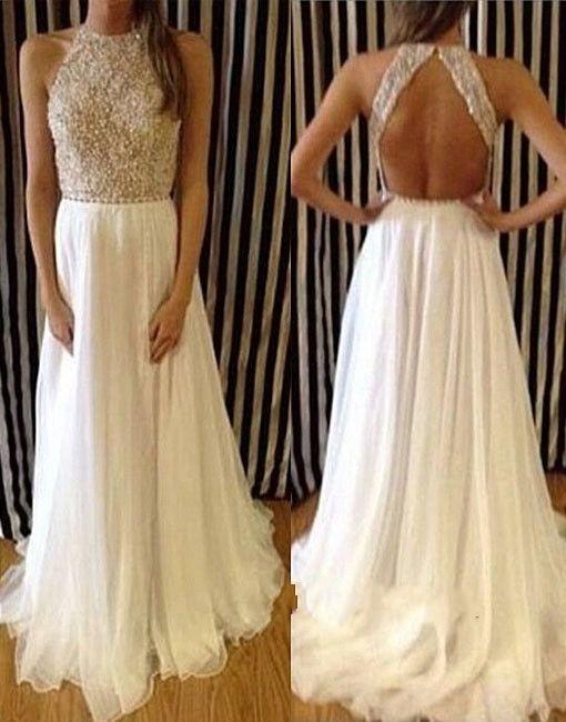 Vestidos de boda de las perlas Vestidos de las novias del cuello del halter Vestidos sin mangas de la longitud del piso Vestidos blancos abiertos de la playa Vestidos de boda sin respaldo