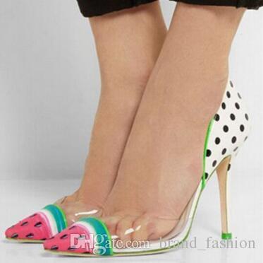 New High Heels Ladies Wedding Shoes Woman Cute Watermelon Color Dot Women  Pumps Leather PVC Women Shoes Sandals Zapatos Mujer Platform Shoes Prom  Shoes From ... 25de6a93e4