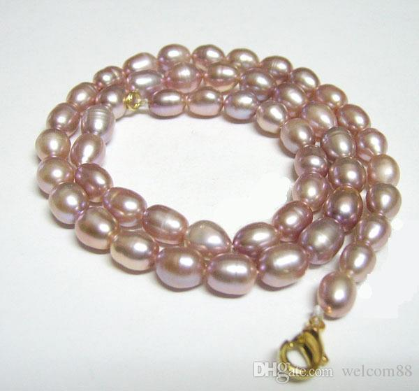 Purple Rice Freshwater Pearl Fashion Necklace Lobster Clasp 16inch For DIY Craft Fashion Jewelry Gfit P3