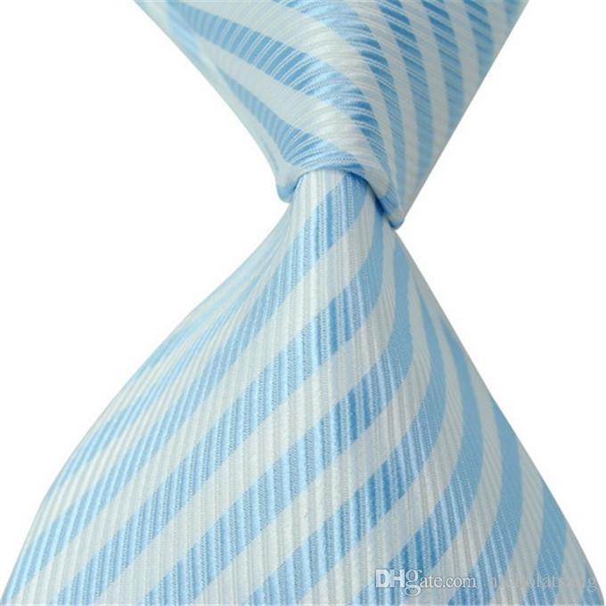 8 Stilleri Yeni Klasik Çizgili Erkekler Mavi Kravatlar Jakarlı Dokuma% 100% İpek Siyah ve Yeşil Örgün İş Kravatlar Hediye Ücretsiz Nakliye için