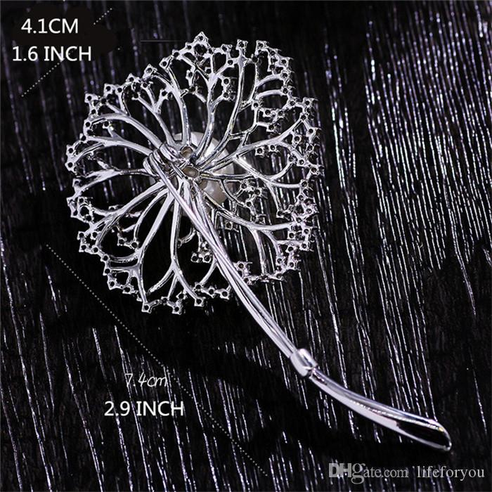 Vintage Pearl Rhinestone Brooch Pin Silver-plate Alloy Faux Diament Broach for bridal wedding costume party dress Pin gift 2016 New fashion
