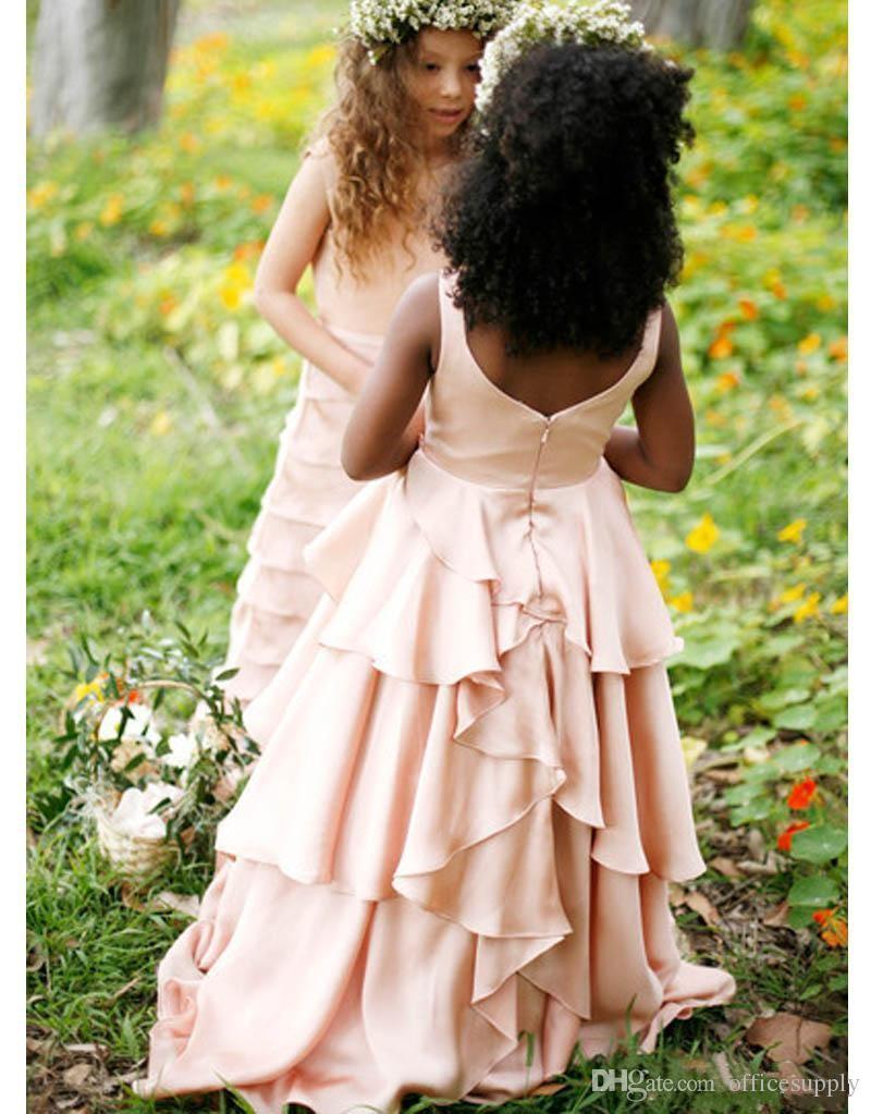 New Pretty Blush Pink Flower Girl Dresses Matrimoni Country Style Kids Tutu Abito da sposa prima comunione