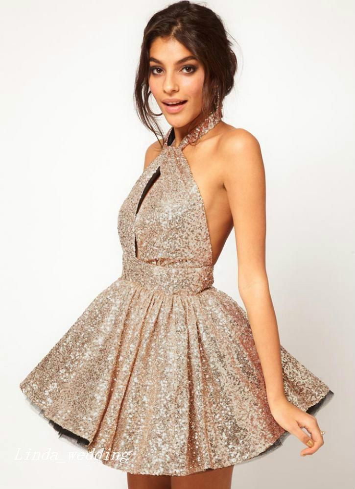 섹시한 짧은 골드 댄스 파티 드레스 아름다운 홀터넥 넥 라인 여성의 복장 특별 행사 드레스 파티 드레스