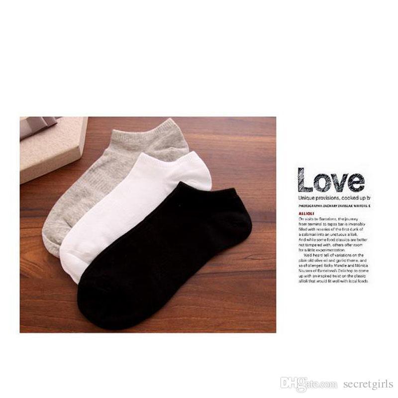 Calcetines de los hombres Mocasines de algodón Botas antideslizantes invisibles de corte bajo, no se muestran talla única, calce para hombres 6-10