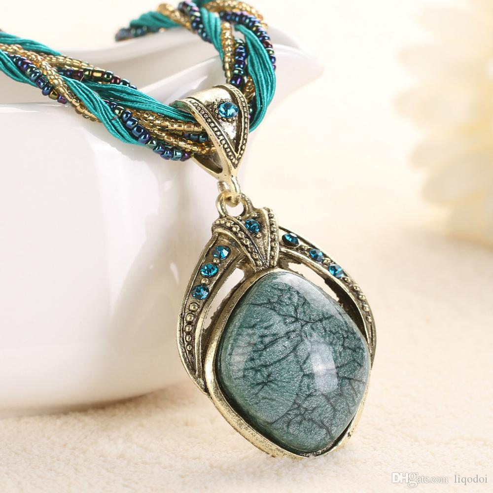 necklaces necklace color fashion turquoise jewelry kinel for vintage wholesale indian pendant choker ancient from women plating in bohemia item gold