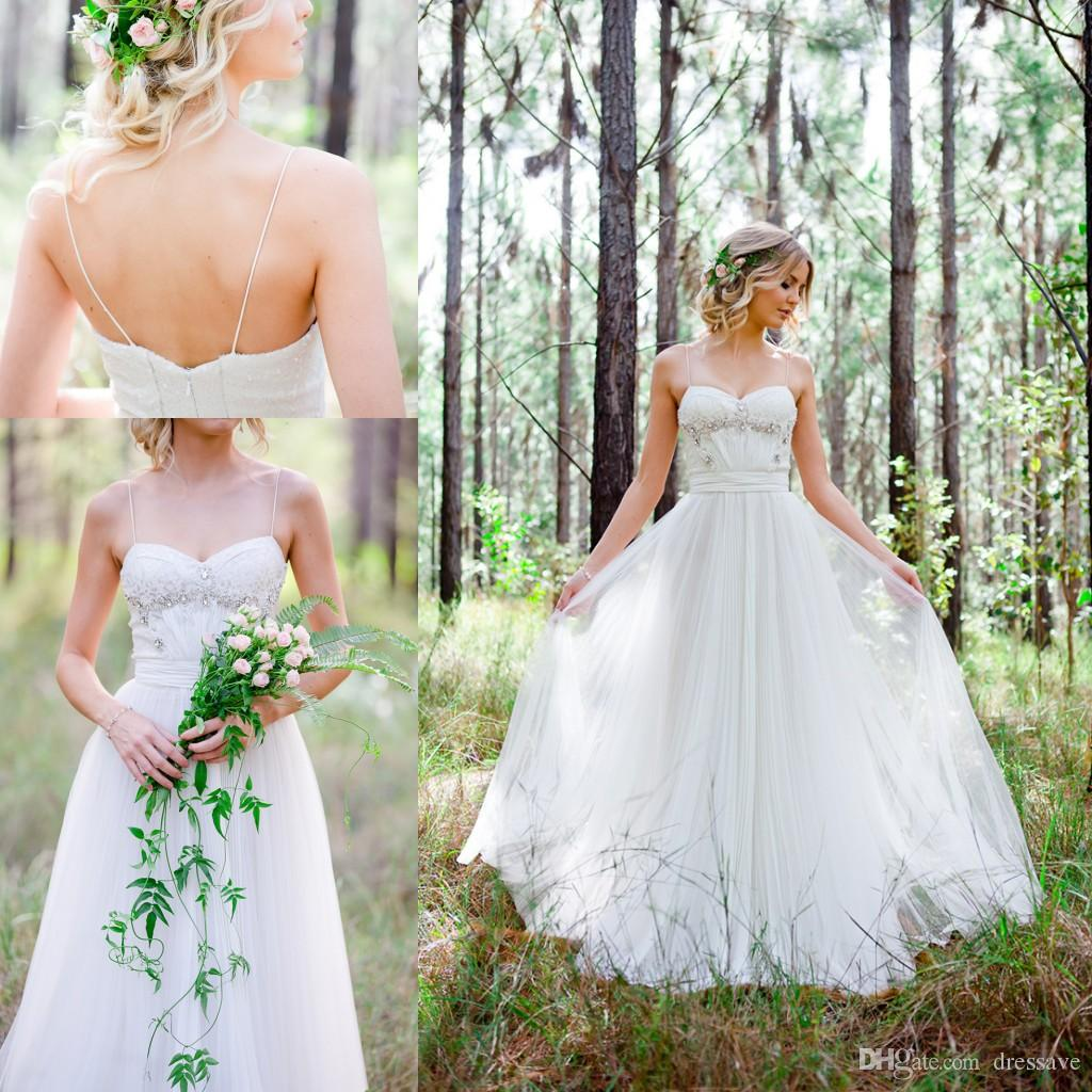Discount Woodland Themed Wedding Dresses 2017 Boho Simple A Line