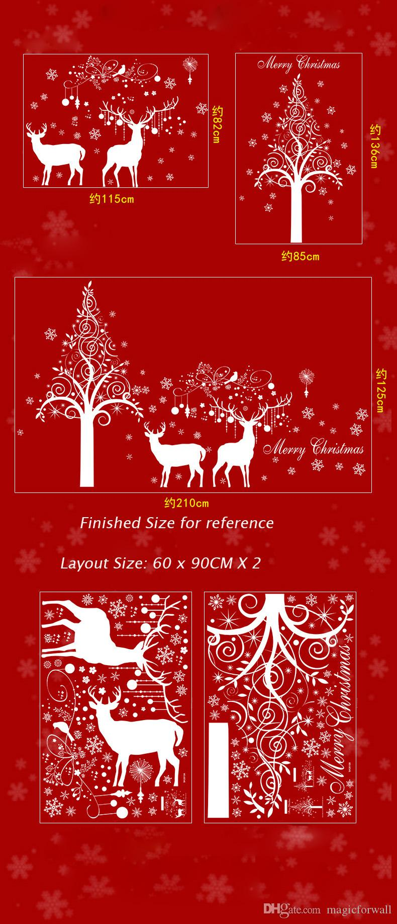 Super Large White Snowflake Elk Deer Tree Branches Birds Wall Sticker Christmas Winter Window Glass Decor Wall Poster Mural Festival Graphic