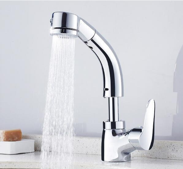 Beautiful 2018 Bathroom Pull Out Basin Faucet Bathroom Water Tap With Sprayer Shower  Head Chrome Can Move Up And Down Basin Mixer From Crystalstory, $170.14 |  Dhgate.