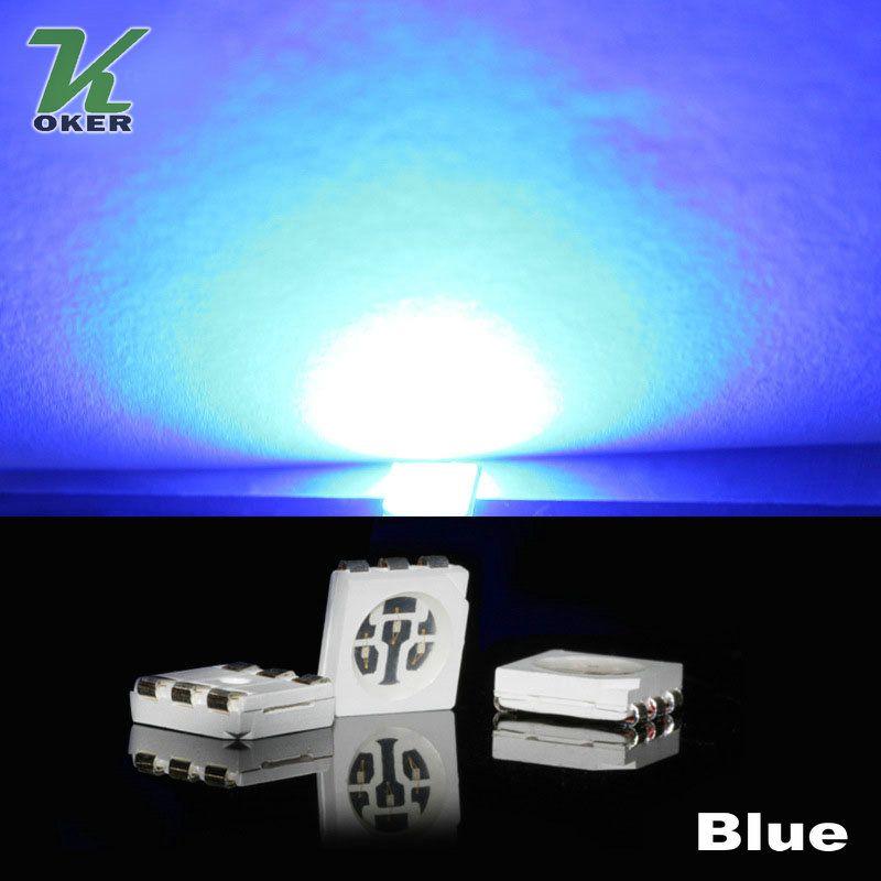 1500 pz 15-18LM BLUE PLCC-6 5050 SMD 3-Chips Lampada lampada diodi ultra luminosa
