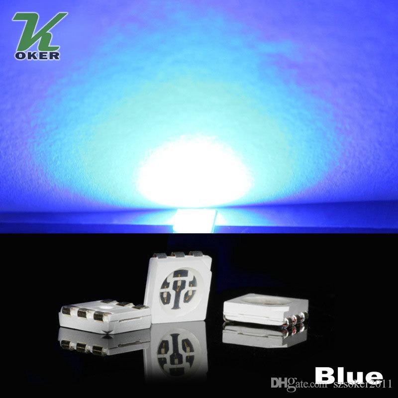 15-18LM 블루 PLCC-6 5050 SMD 3-CHIPS LED 램프 다이오드 Ultra Bright SMD 5050 SMD LED 무료 배송