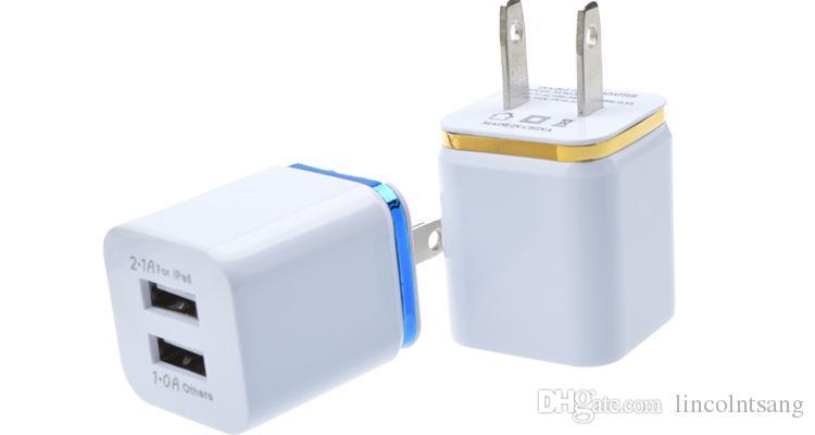En gros / Coloré 2A + 1A US Plug AC Adaptateur secteur Home Trave Wall 2 ports double USB Chargeur pour iPhone 4 5 6 plus pour Samsung HTC
