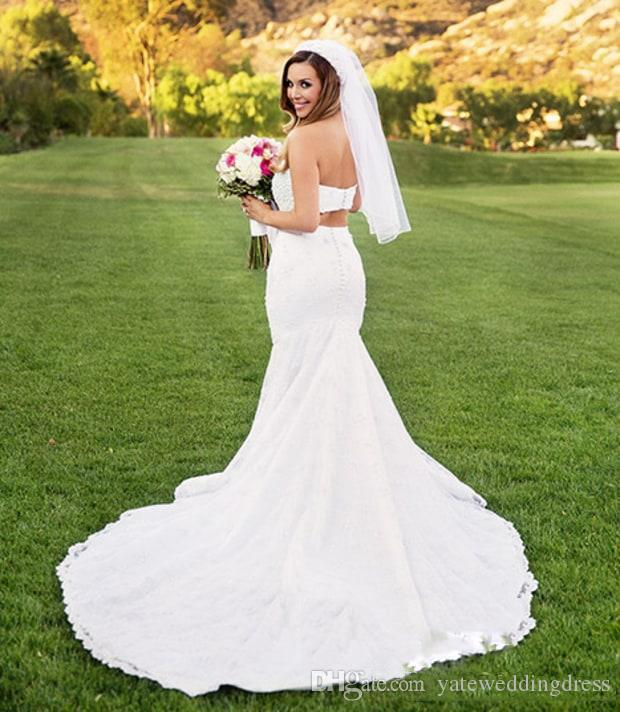 Two Pieces Mermaid Style Bridal Dresses Sweetheart Beading Wedding Dresses Sweep Train Custom Made Wedding Gowns Limited-Time Discount 2017
