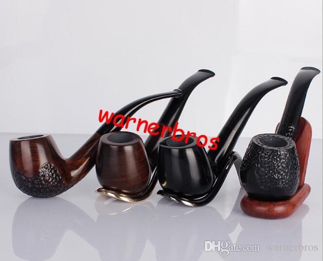 Envío libre EE. UU. NUEVA Ebony tabaco de madera pipas 14.8 CM largo blackwood tubo de madera filtro negro Hierba de gama alta fumador de Pipa De Madera regalo