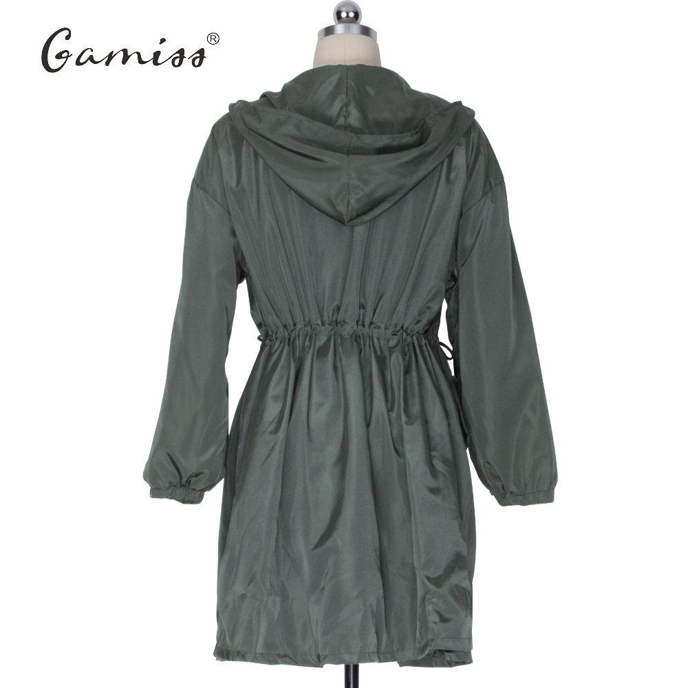 Gamiss Mujeres Trench Coat Fly Pocket Abrigos sueltos Casual Fold Cintura delgada Tendencia Windbreaker Outerwears Ladies Plus Size Trench Coat