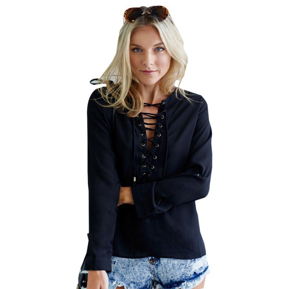 20bd99965eeb Venta al por mayor Lace Up Blusa Negra Botón Blanco Top Azul Ataduras  camisa Mujeres Blusa de manga larga Gasa Cuello en V Profundo Top hueco  Casual ...