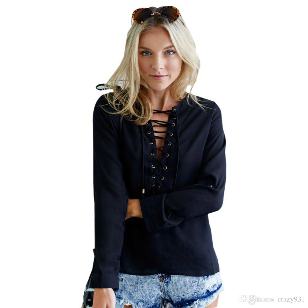 96c1bb6f8c7aa2 2019 Wholesale Lace Up Black Blouse White Button Top Blue Ties Up Shirt  Women Long Sleeve Blouse Chiffon Deep V Neck Hollow Top Vintage Casual From  Crazy931 ...