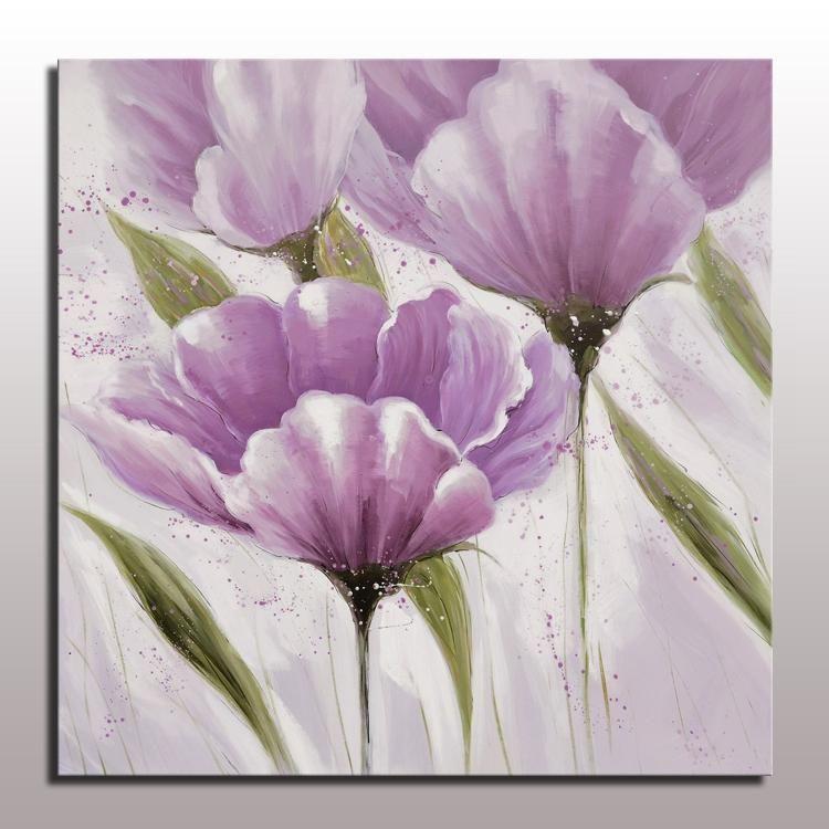 Konda Art Framed Handmade Purple Flower Oil Painting On: 2018 Handmade Decorative Modern Simple Abstract Flower Oil